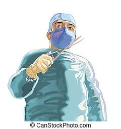 Surgeon green - illustration, surgeon green