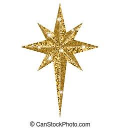 Bethlehem Christmas golden star isolated on white background...