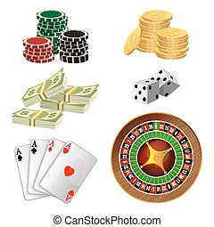 Poker chips, golden coins with dollar, money, aces playing cards