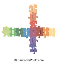 Better together logotype design made of puzzle vector...