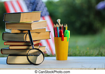 education book stack page outdoor