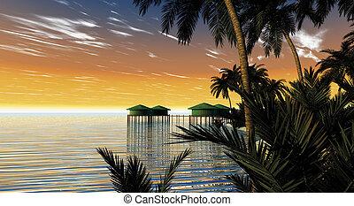 Resort bungalow - 3d illustration rendering Tropical resort...