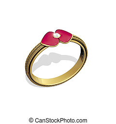 Gold ring heart