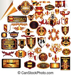 Big collection of vector luxury labels in golden color,...