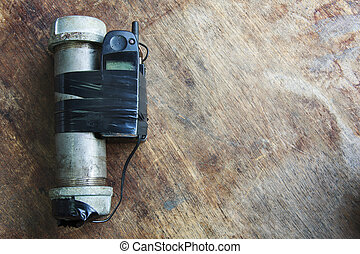 Steel pipe explosive (IED) is ignited by cell phone.For...