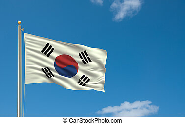 Flag of South Korea with flag pole waving in the wind on...