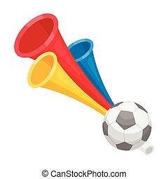 Trumpet football fan.Fans single icon in cartoon style...