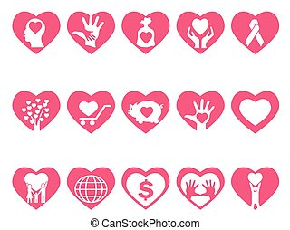 charity icons set in heart