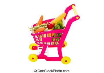 A toy trolley with vegetables