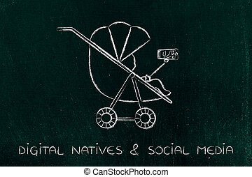 digital natives and selfie society, child in pram with...