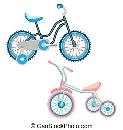 Set of bicycles for children vector realistic illustration...