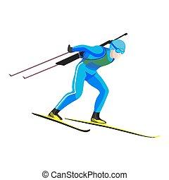 Biathlete skier racing down on high speed on skis -...