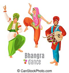 Bhangra dance concept men and woman in national cloth...