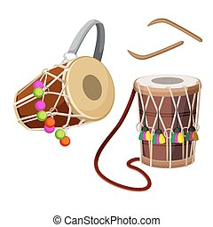 Dhol types of double-headed drum and wooden sticks vector illustration