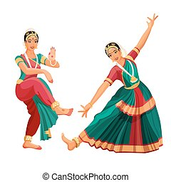 Woman dancer in national indian cloth dancing Bharatanatyam...