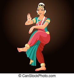 Bharatanatyam or Bharathanatiyam woman dancer vector...