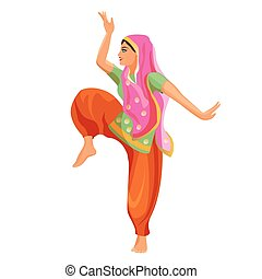 Solo dance performed by girl in silk shirt and trousers with...