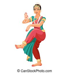 Bharatanatyam or Bharathanatiyam woman dancer vector...