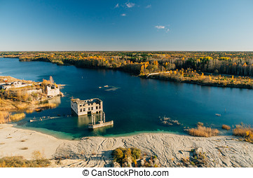 Abandoned Rummu quarry by autumn, Estonia - Abandoned Rummu...