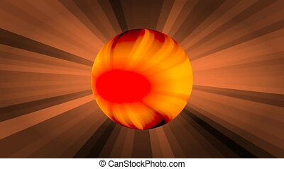 Plasma orange sphere on rays background, disintegration of...