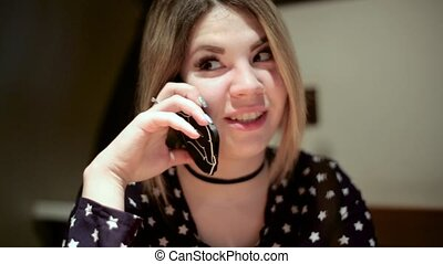 Asian girl woman talking on mobile phone