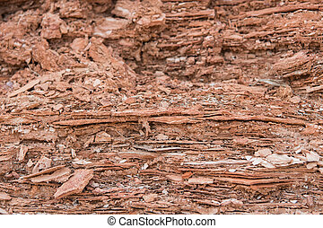 Flaking Rock in Desert Wash Close Up
