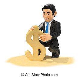 3D Businessman making dollar symbol with beach sand