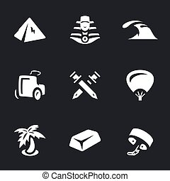 Vector Set of Ancient Egypt Icons. - Pyramid, sphinx, sea,...
