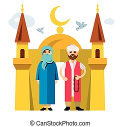 Vector Muslim family and Islam. Flat style colorful Cartoon...