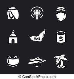 Vector Set of UAE Icons. - Sultan, island, harem, mosque,...