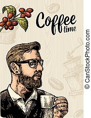 Hipster barista holding cup coffee and branch with leaf and...