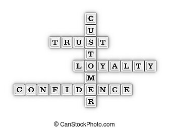Trust, Loyalty, Confidence and Customer Crossword Puzzle. 3D...