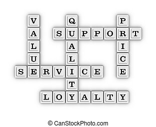 Service, Quality, Support, Price, Value, Loyalty Crossword Puzzle.