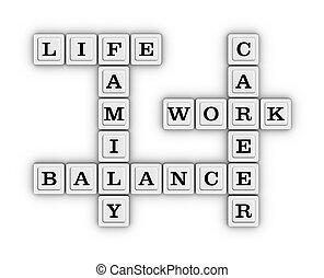 Life Work Balance Crossword Puzzle. 3D illustration on white...