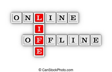 Online and Offline Life crossword puzzle. Virtual and real life concept.
