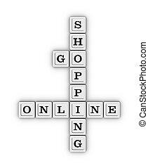 Go Online Shopping crossword puzzle. E-commerce concept. 3D...