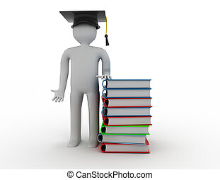 education concept.people book 3d rendered illustration