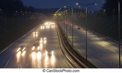 Long Exposure Time Lapse of Night Traffic in Vilnius,...