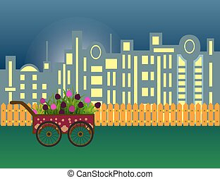 Carriage with flowers on modern night city silhouette and wooden fence