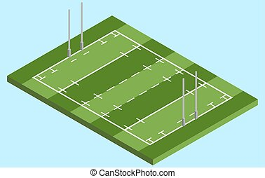 Isometric Rugby field in vector