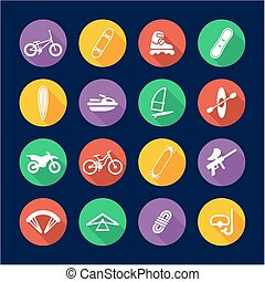 Extreme Sports Icons Flat Design Circle - This image is a...