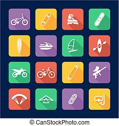 Extreme Sports Icons Flat Design - This image is a...