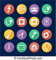 Electrician Icons Flat Design Circle - This image is a...