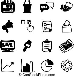 Election Icons Freehand Fill - This image is a illustration...