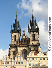Tyn Cathedral - Famous Tyn Cathedral on Prague Town Square