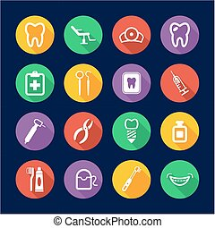 Dentist Icons Flat Design Circle - This image is a...