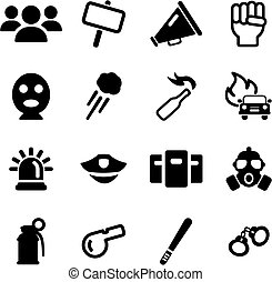 Demonstration Or Protest Icons - This image is a...