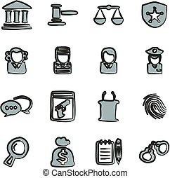 Courthouse Trial Icons Freehand 2 Color - This image is a...