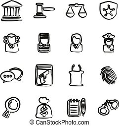 Courthouse Trial Icons Freehand - This image is a...