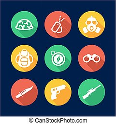Commandos Icons Flat Design Circle - This image is a...